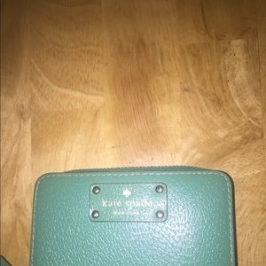 Kate Spade Green Zip Around Medium Wallet